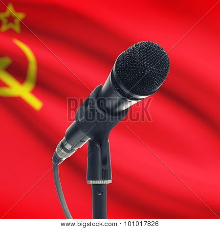 Microphone On Stand With National Flag On Background - Ussr - Soviet Union