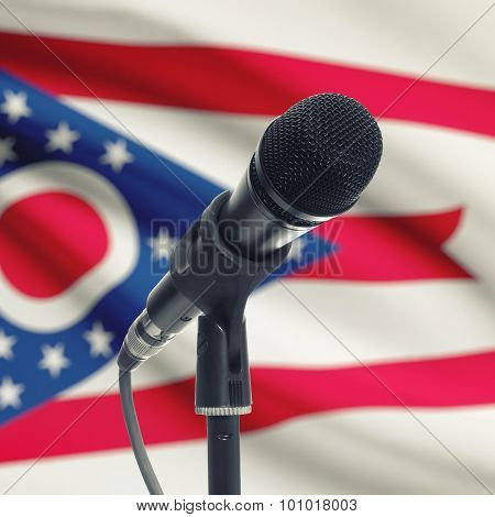 Microphone On Stand With Us State Flag On Background - Ohio