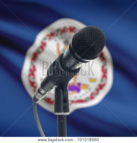 Microphone On Stand With Us State Flag On Background - Virginia