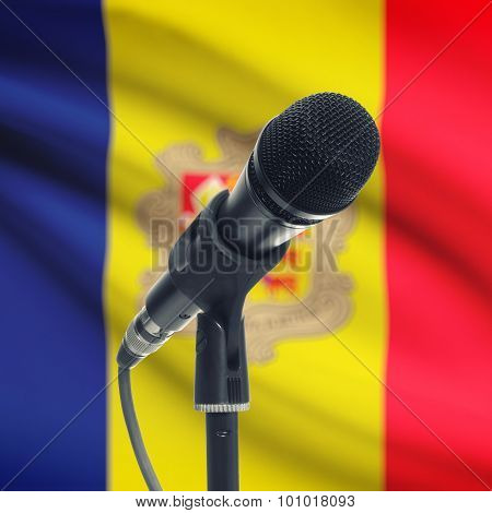 Microphone On Stand With National Flag On Background - Andorra