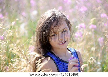 Pretty Girl Among Flowers