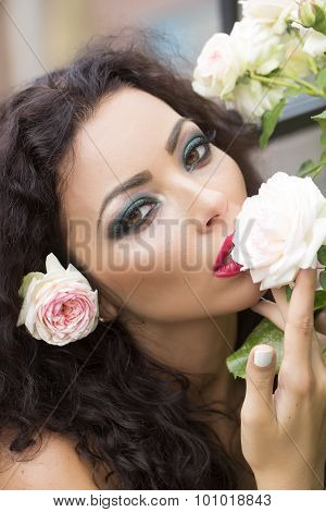 Portrait Of Beautiful Woman With Flower