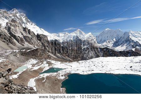 Mount Makalu Above Lake Near Kongma La Pass