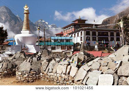 Tengboche Monastery With Stupa And Prayer Mani Wall