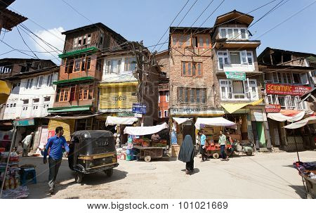 Street Bazaar From Srinagar - Kashmir, India