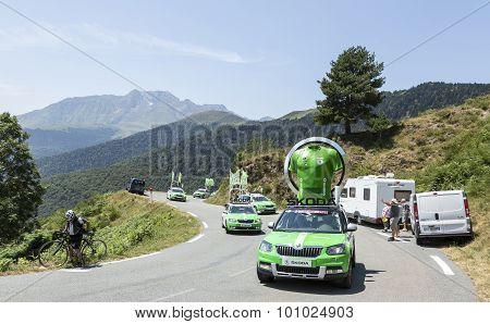 Skoda Caravan In Pyrenees Mountains - Tour De France 2015
