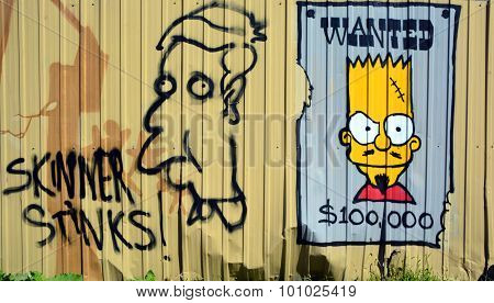 Street art Montreal Bart Simpson wanted