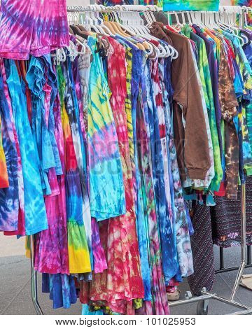 Summer Dresses Hanging On The Street Market