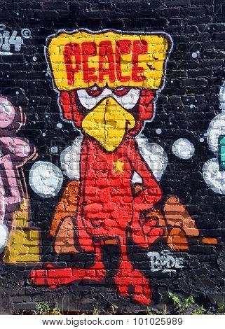 Street art Montreal bird peace