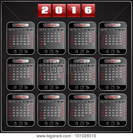 Calendar 2016 vector Sunday first 12 months, techno gadget digital style
