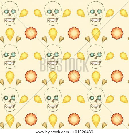 Seamless pattern skull and precious stones vector