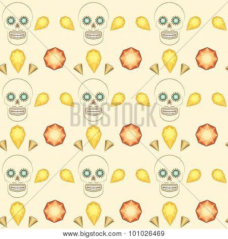 Seamless pattern skull and precious stones vector