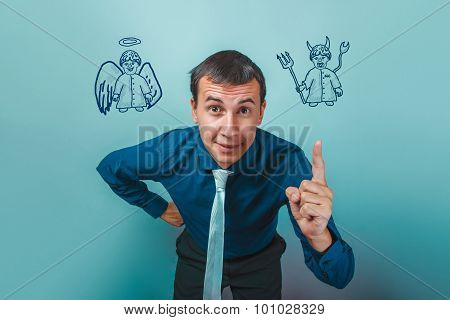 man Male businessman showing finger angel devil demon infographi