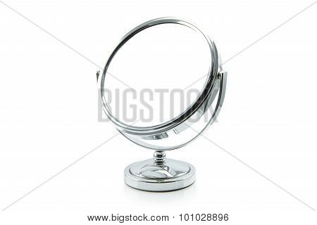 silver makeup mirror isolated on white.