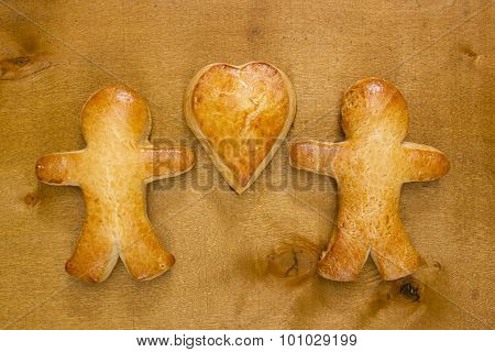 Cookies In The Shape Of A Man And Heart