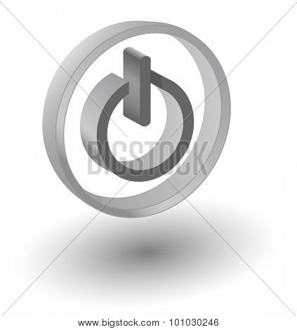 Vector web on/off button icon, 3d