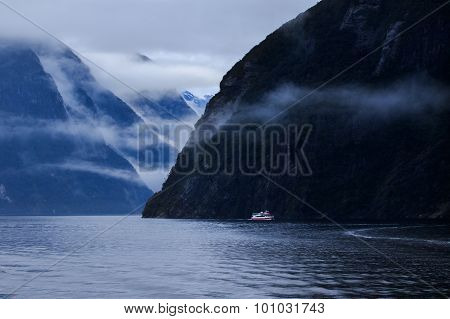 Milford Sound In Fjord Land National Park Important Traveling Destination In South Island New Zealan