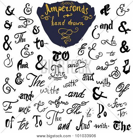 Ampersands And Catchwords Collection Hand Drawn Set For Logo And Label Designs. Vintage Style Hand L