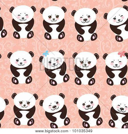 Kawaii funny panda seamless pattern on pink background, white muzzle with pink cheeks and big black