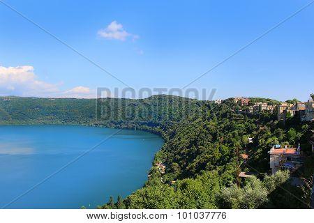 Volcanic Lake Nemi In Italy