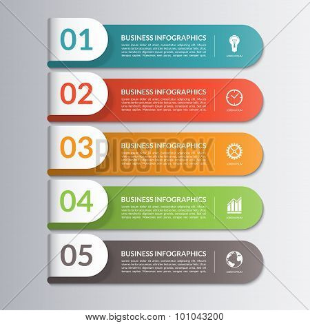 Infographic design template. 5 steps, parts, options, stages.