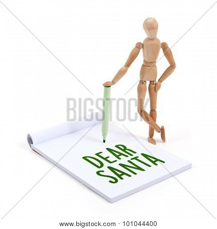 Wooden Mannequin Writing - Dear Santa