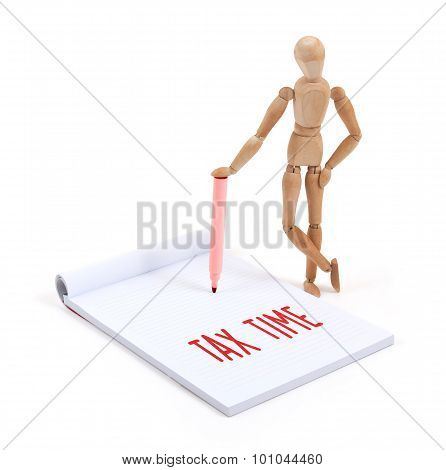 Wooden Mannequin Writing - Tax Time