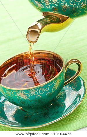 Tea In Antique Porcelain Mug