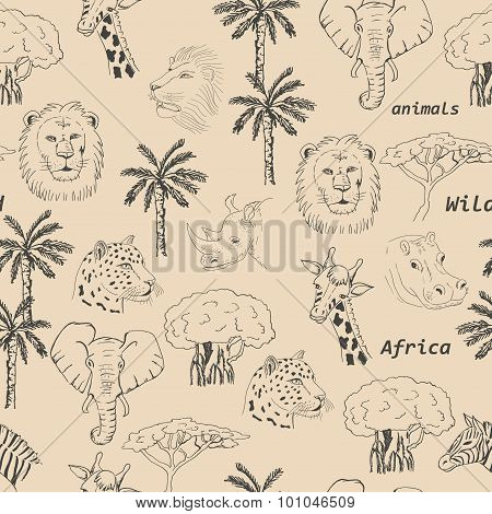 Seamless pattern with wild animals of Africa
