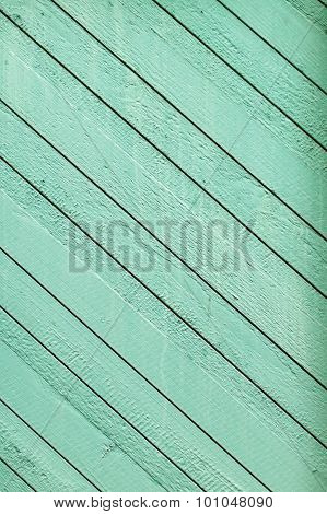 Wooden Plank Wall Painted Green, Diagonal Pattern
