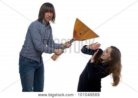 Angry man and screaming woman