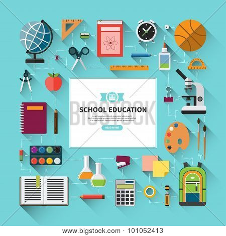 School education vector background in flat style