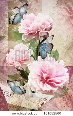 Congratulations Card With Peonies, Butterflies And Paper Boat.
