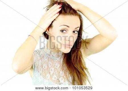 Cute Woman Checking Hair Loss