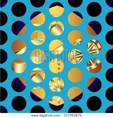 Set Of Decorative Gold Ornaments