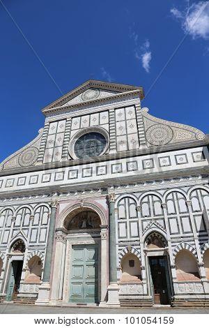 Florence Italy Decorated Facade Of Ancient Church Called Santa Maria Novella