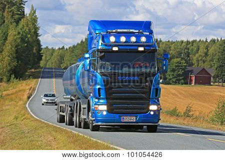 Blue Scania R500 Tank Truck On the Road
