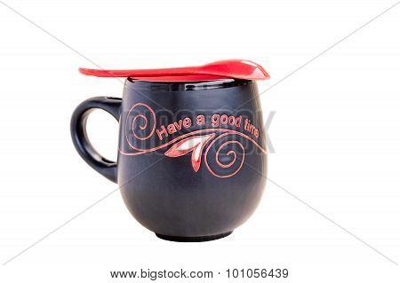 Black And Red Tea Mug