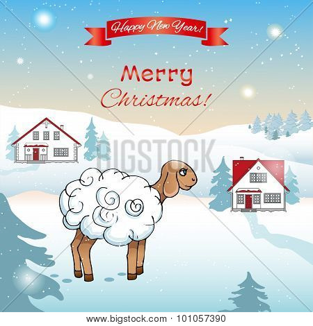 Winter poster with a lamb.