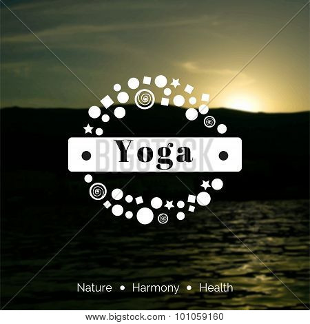 Poster for yoga class with a sea landscape.