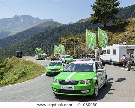 Skoda Caravan In Pyrenees Mountains - Tour De France 2015