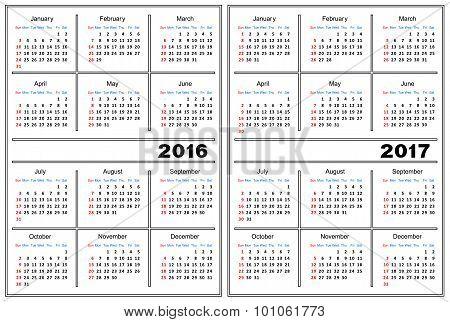 Calendar Template 2016, 2017