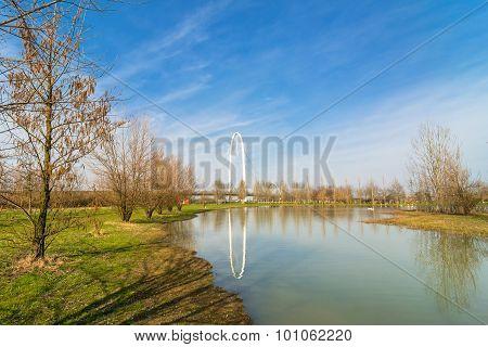 Landscape With Calatrava Bridges In Reggio Emilia