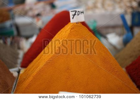Spices in the market in the Agadir, Morocco.