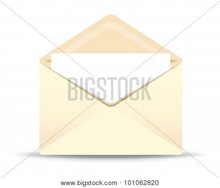 open ivory envelope