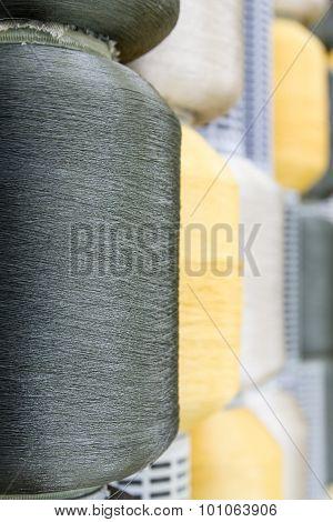 Silk Thread Spools In Row
