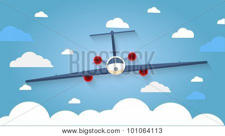 Flight of the plane in the sky. Passenger planes, airplane, aircraft, flight, clouds, sky, sunny wea