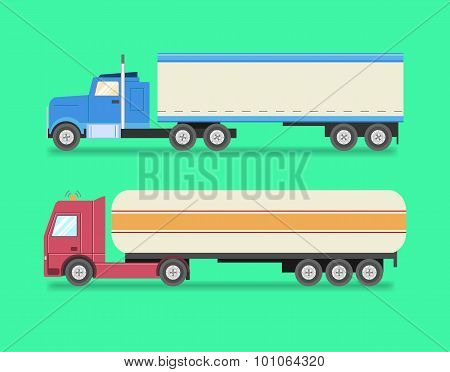 Flat set of icons trucks. Heavy trucks, fuel truck, logistics, land transport, delivery. Vector illu