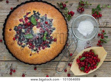 Sponge cake with berries - cranberries and blueberries. Rustic style