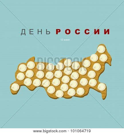 Russia Day. Patriotic National Holiday On June 12. Frozen Dumplings On Cutting Board In Form Of A Ma